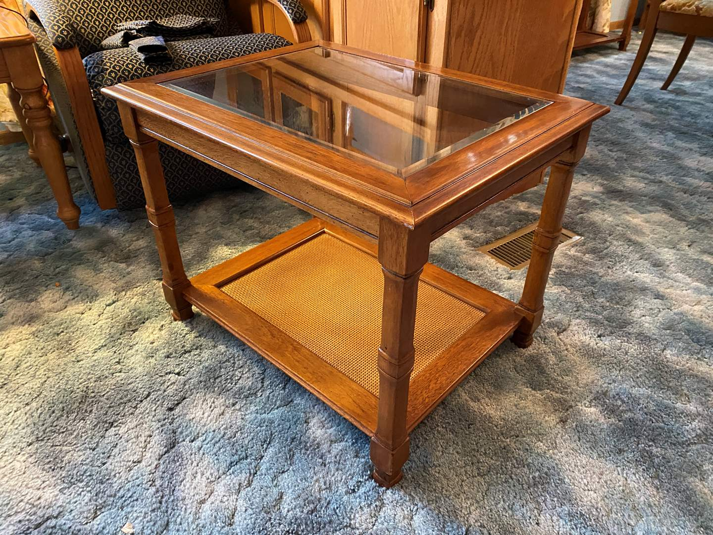 Lot # 17 - Wood Side Table w/ Glass Insert - (Matches Lot # 6) (main image)