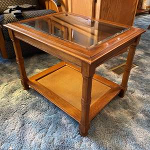 Lot # 17 - Wood Side Table w/ Glass Insert - (Matches Lot # 6)