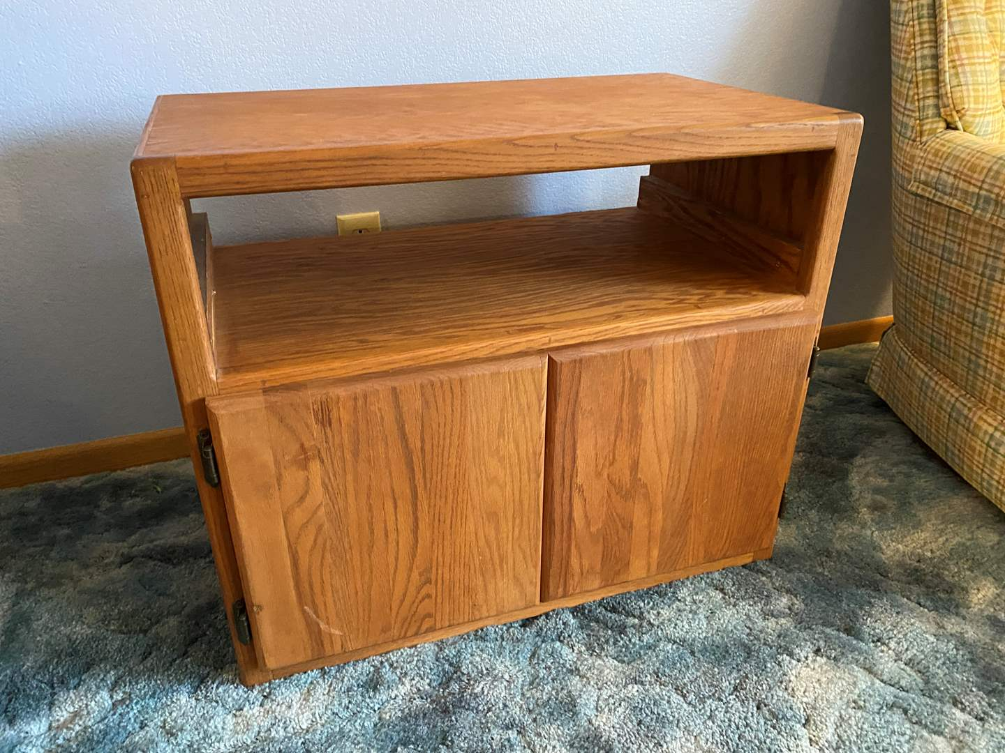 Lot # 19 - Wood Rolling TV Stand  (main image)