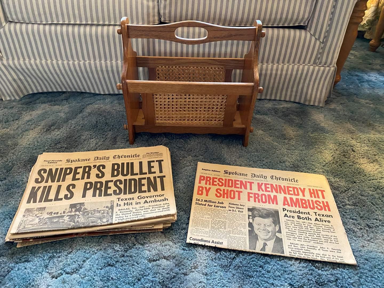 Lot # 21 - Vintage Magazine Rack & Newspapers  (main image)