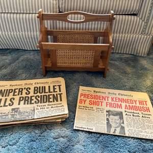 Lot # 21 - Vintage Magazine Rack & Newspapers