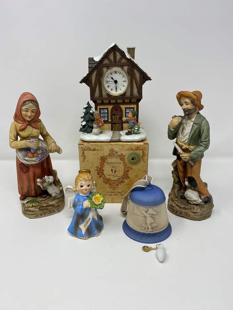 Lot # 27 - Hummel Clock & Bell, Homco Figurines, NIB Boyd Bear Figurine, Lefton Angel. (main image)