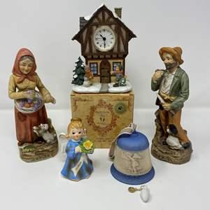 Lot # 27 - Hummel Clock & Bell, Homco Figurines, NIB Boyd Bear Figurine, Lefton Angel.
