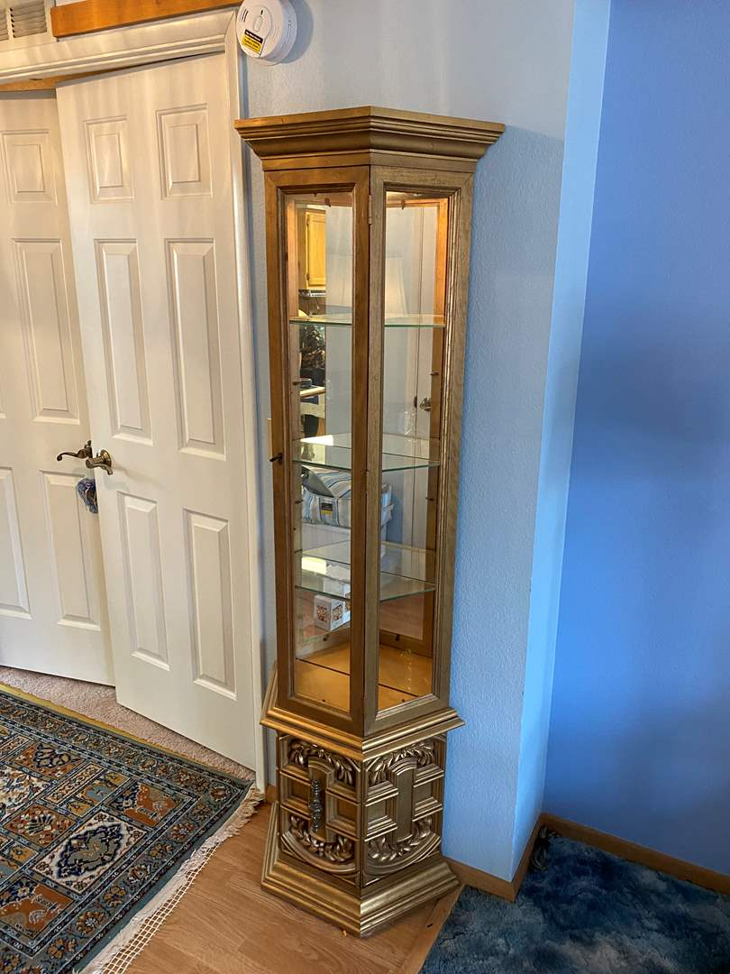 Lot # 29 - Gold Toned Lighted Curio Cabinet (main image)