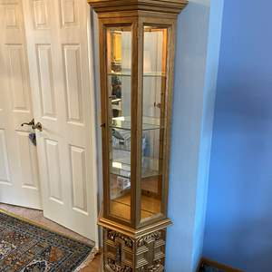 Lot # 29 - Gold Toned Lighted Curio Cabinet