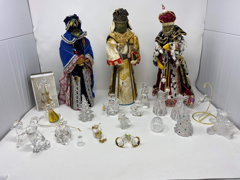 Lot # 33 - Handmade Three Kings, Misc. Glass, Crystal & Plastic Christmas Ornaments (main image)