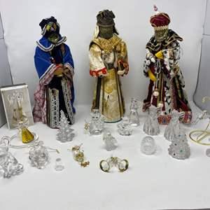 Lot # 33 - Handmade Three Kings, Misc. Glass, Crystal & Plastic Christmas Ornaments