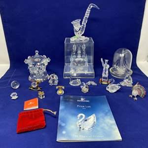 Lot # 34 - Swarovski Crystal Items, Shannon Crystal Carousel, Cinderella Crystal Castle & Other Misc. Glass & Crystal Items