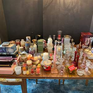 Lot # 36 - Huge Selection of Candle Holders & Candles - (See Photos - Bring Boxes)