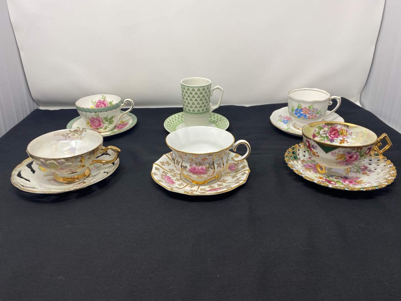 Lot # 38 - Six Teacups & Saucers - (See Photos) (main image)