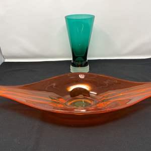 Lot # 103 - Vintage Orange Viking Glass Dish, Blue Glass Vase from Finland