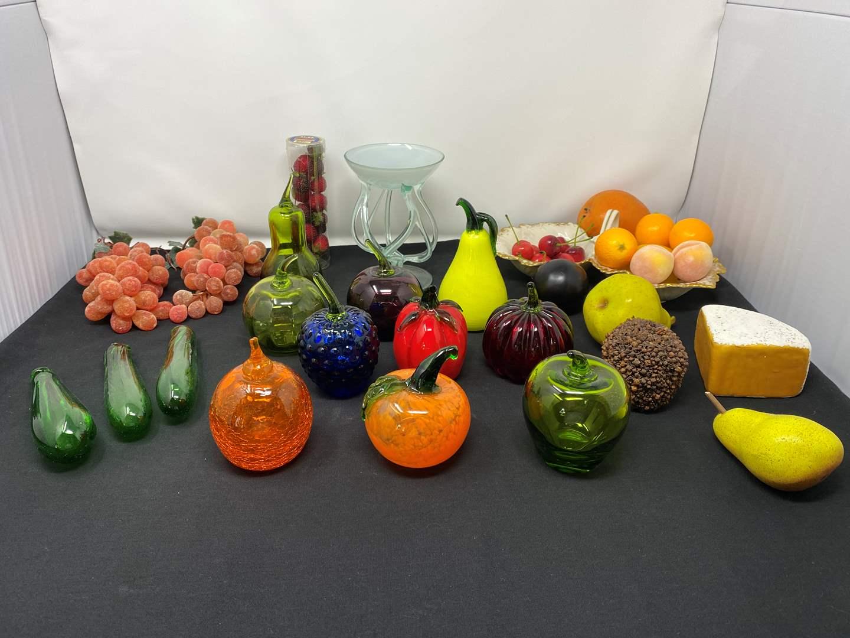 Lot # 104 - Glass Fruit & Gourds, Faux Fruit, Nice Hand Blown Glass, Lenox Dish (main image)