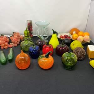 Lot # 104 - Glass Fruit & Gourds, Faux Fruit, Nice Hand Blown Glass, Lenox Dish