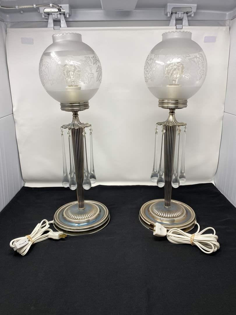 "Lot # 106 - Beautiful Pair of Vintage Metal Glass Teardrop Globe Table Lamps - (Both Work - 21"" tall) (main image)"