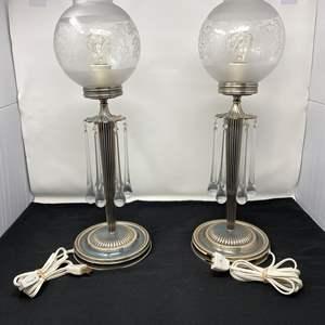 "Lot # 106 - Beautiful Pair of Vintage Metal Glass Teardrop Globe Table Lamps - (Both Work - 21"" tall)"