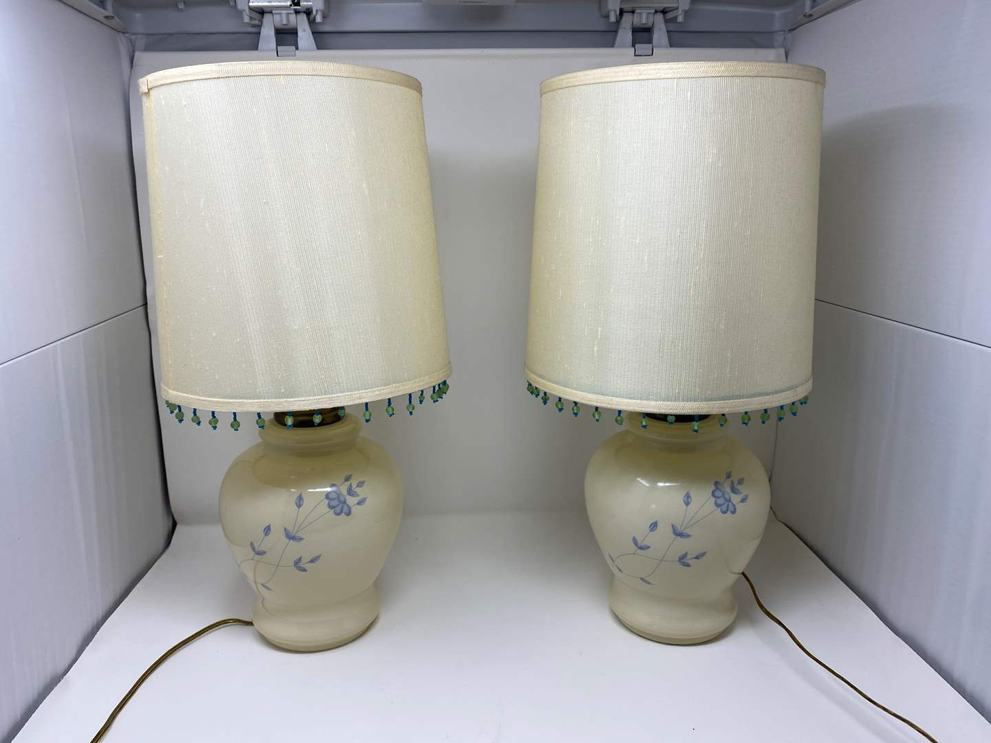 """Lot # 116 - Two Cute Glass Table Lamps - (Both Work - 20""""tall) (main image)"""