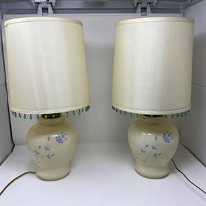 """Lot # 116 - Two Cute Glass Table Lamps - (Both Work - 20""""tall)"""