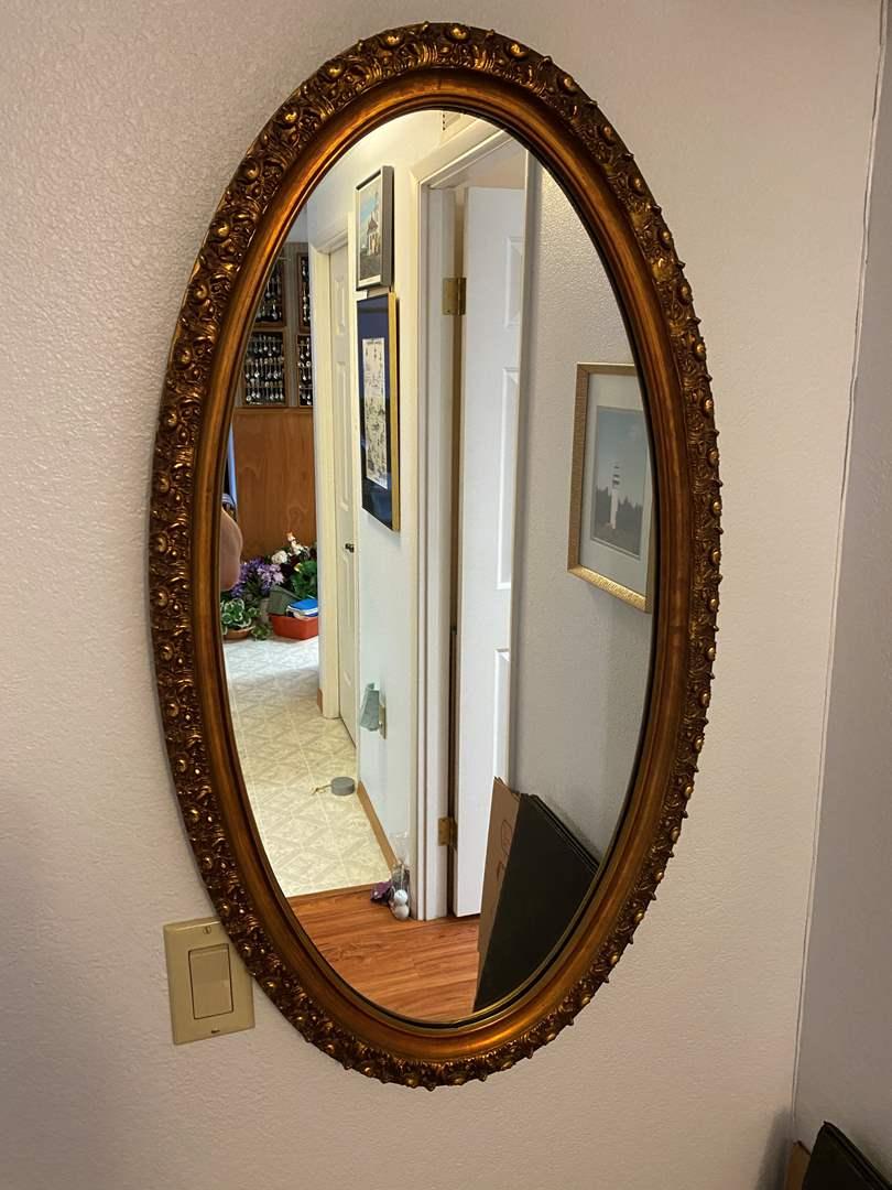 Lot # 117 - Vintage Gold Toned Wood Framed Mirror (main image)