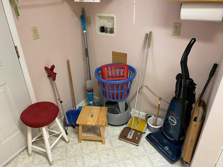Lot # 122 - Eureka Vacuum, Stepstools, Sweepers, Grabbers, & More (main image)