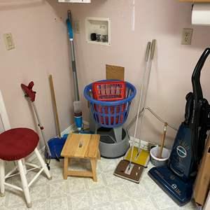 Lot # 122 - Eureka Vacuum, Stepstools, Sweepers, Grabbers, & More