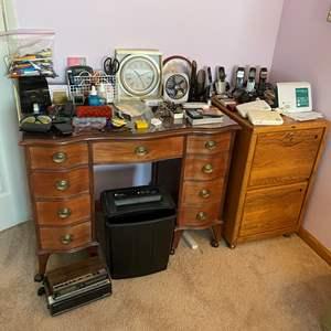 Lot # 125 - Fellowes Paper Shredder, Office Supplies, Cordless Phones, Clocks, & More
