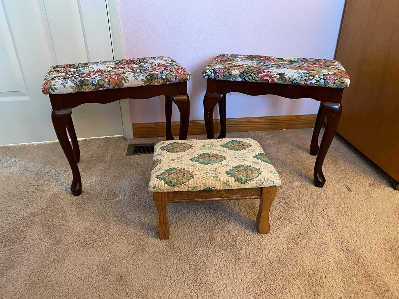 Lot # 129 - Two Vanity Stools, Small Footstool  (main image)