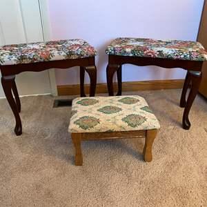 Lot # 129 - Two Vanity Stools, Small Footstool