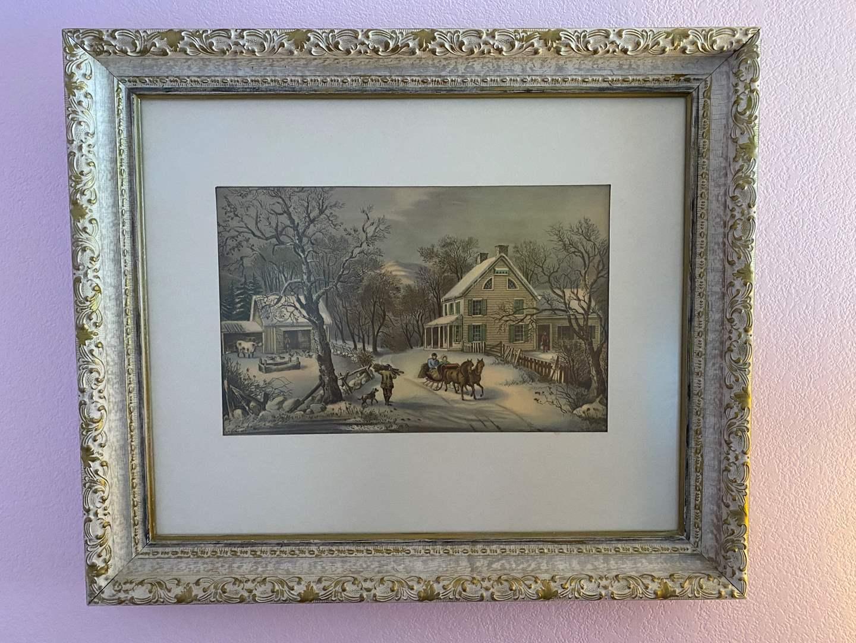 "Lot # 132 - Beautiful Framed Winter Print - (26"" x 22"") (main image)"