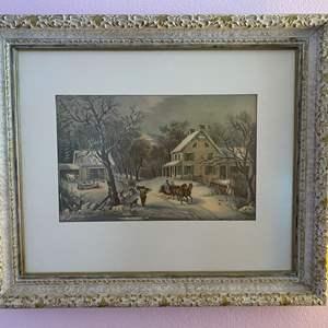 """Lot # 132 - Beautiful Framed Winter Print - (26"""" x 22"""")"""