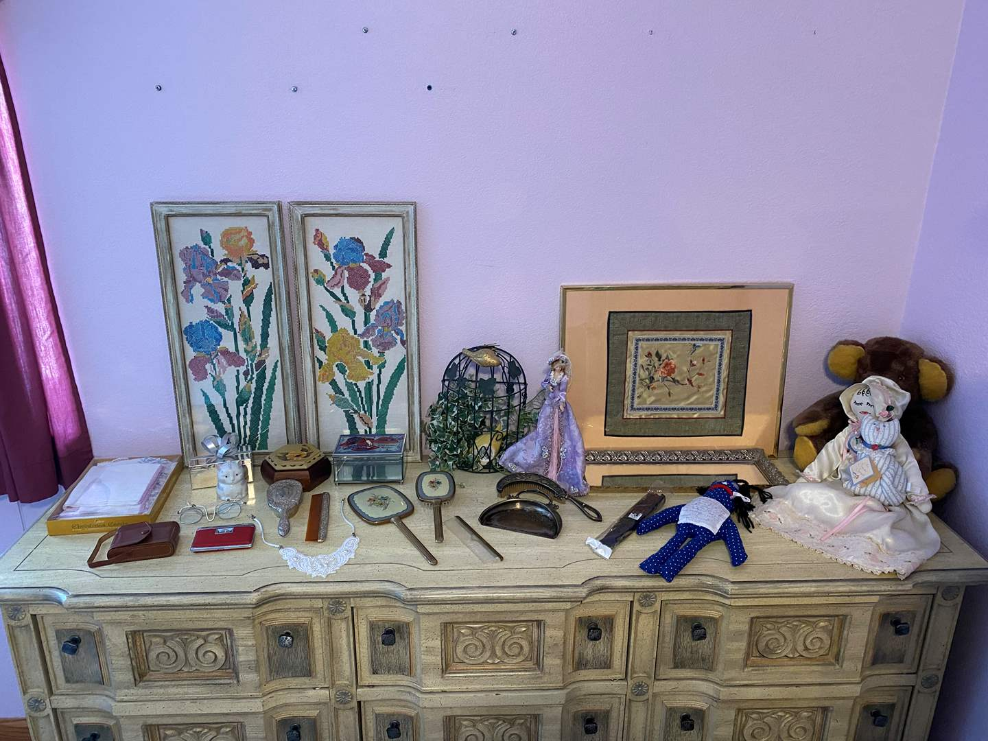 Lot # 164 - Vintage Mirrors, Brushes, Table Crumb Broom & Pan, Hand Stitched Art, Trinket Boxes, Dolls & More (main image)