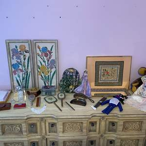 Lot # 164 - Vintage Mirrors, Brushes, Table Crumb Broom & Pan, Hand Stitched Art, Trinket Boxes, Dolls & More