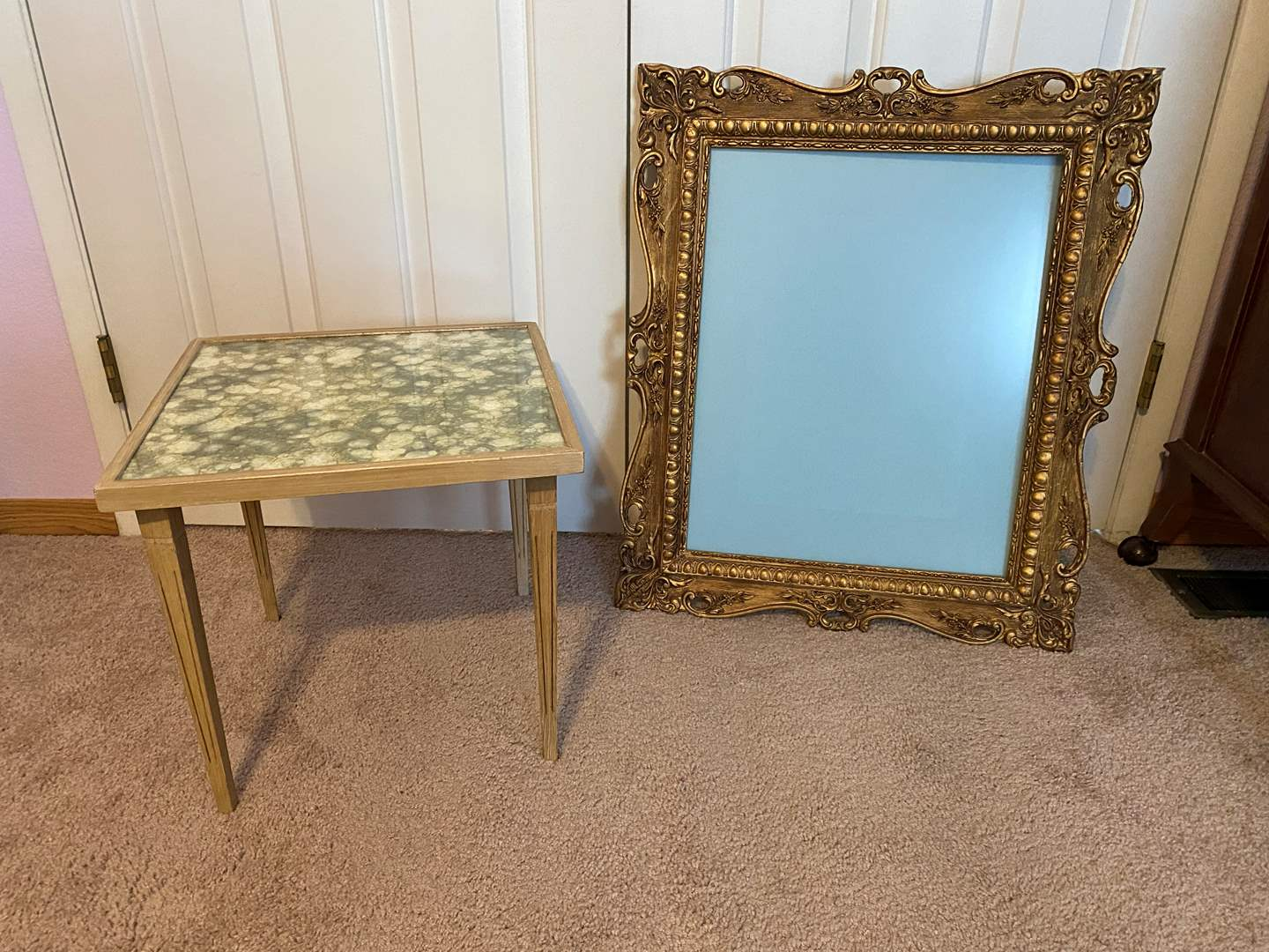 Lot # 165 - Small Side Table & Antique Wood Picture Frame (main image)