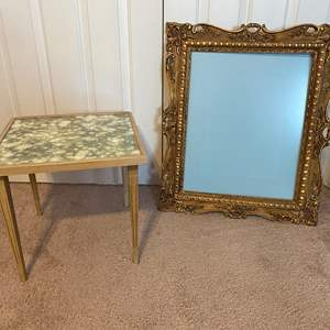 Lot # 165 - Small Side Table & Antique Wood Picture Frame
