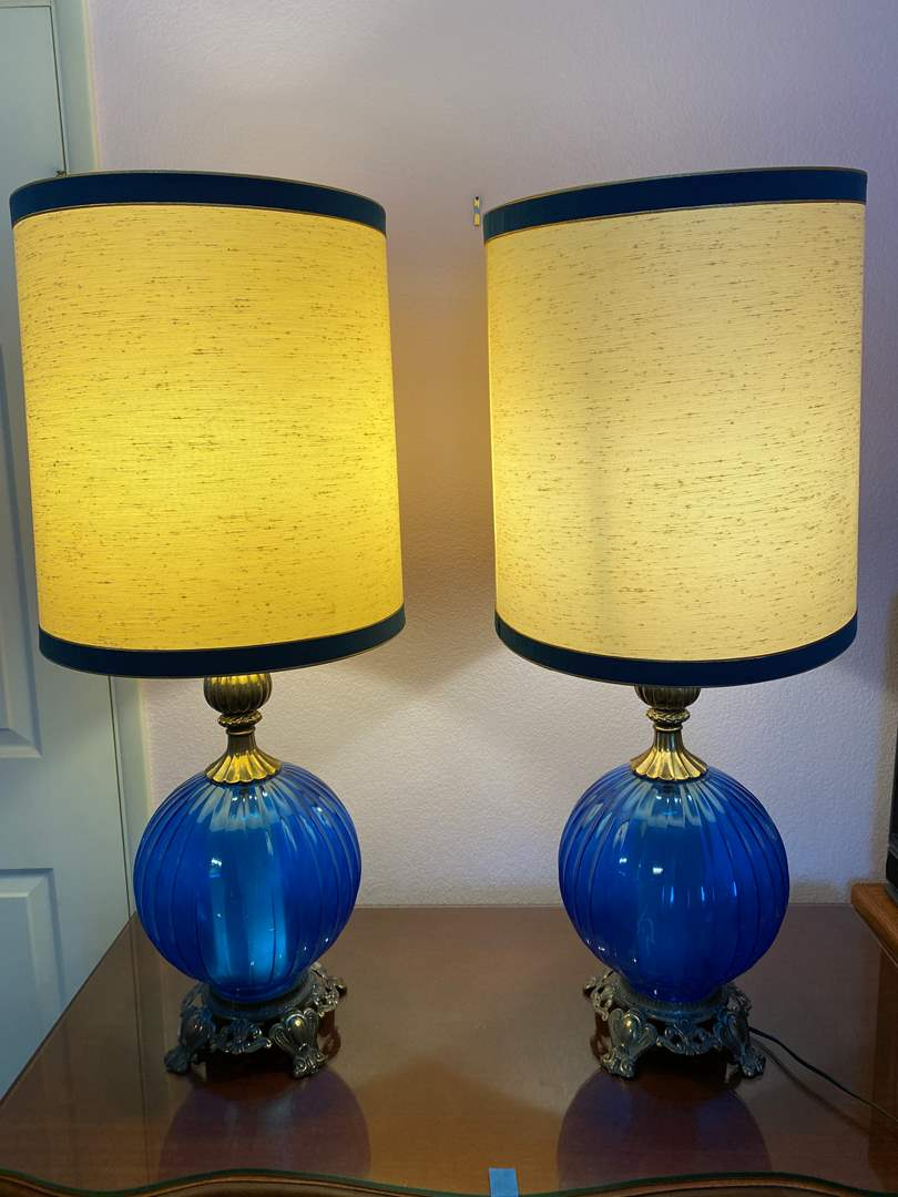 """Lot # 166 - Two Vintage Glass & Metal Table Lamps - (Work - 35.5""""t w/ Shade) (main image)"""