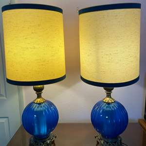 """Lot # 166 - Two Vintage Glass & Metal Table Lamps - (Work - 35.5""""t w/ Shade)"""