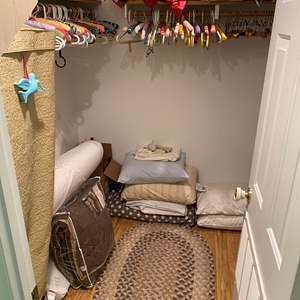 Lot # 170 - Closet Full of Bedding, Shoes, Hats, Hangers & More