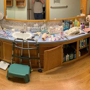 Lot # 171 - Bathroom Contents: Vintage Hamper, Adult Diapers, Mouth Washes, Toothpaste, Sonicare Toothbrush, First Aid & More