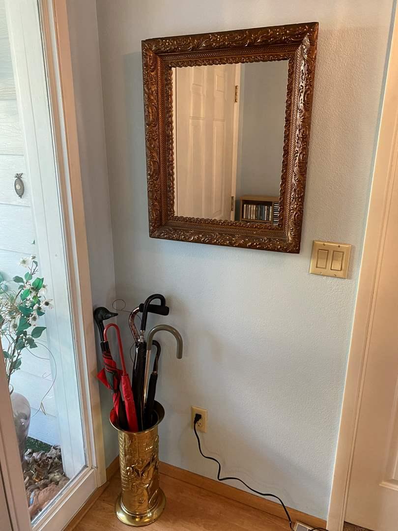 Lot # 182 - Vintage Wood Framed Mirror w/ Vintage Copper Umbrella Stand, Umbrellas, & Canes (main image)