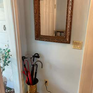 Lot # 182 - Vintage Wood Framed Mirror w/ Vintage Copper Umbrella Stand, Umbrellas, & Canes