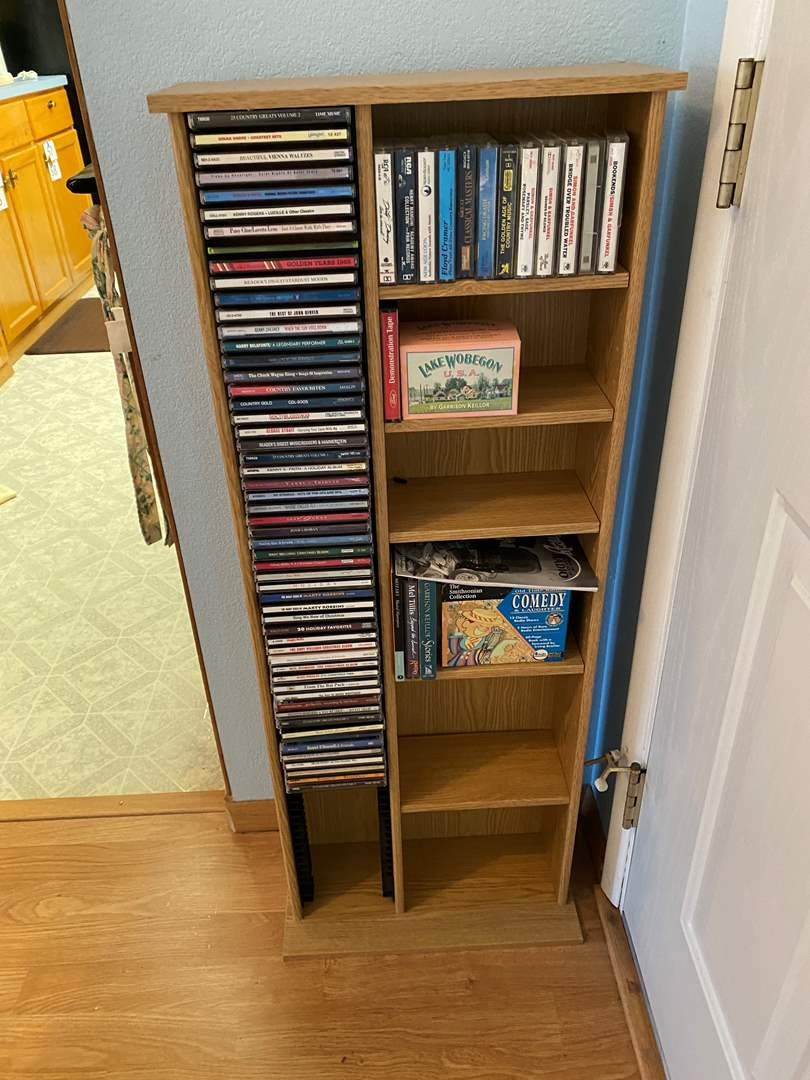 Lot # 183 - CD Rack w/ Music CD's & Cassette Tapes - (All CD's are accounted for) (main image)