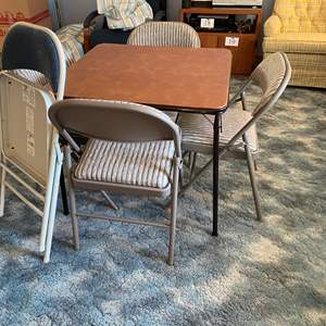 Lot # 187 - Card Table w/ Six Padded Folding Chairs