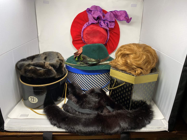 Lot # 188 - Vintage Woman's Hats, Furs, & Wig (main image)
