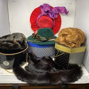 Lot # 188 - Vintage Woman's Hats, Furs, & Wig