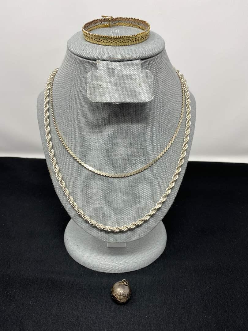 Lot # 199 - Sterling Silver Necklaces, Bracelet, & 1950 Basketball Charm - (Stamped .925 - 61.27 Grams) (main image)