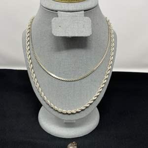 Lot # 199 - Sterling Silver Necklaces, Bracelet, & 1950 Basketball Charm - (Stamped .925 - 61.27 Grams)