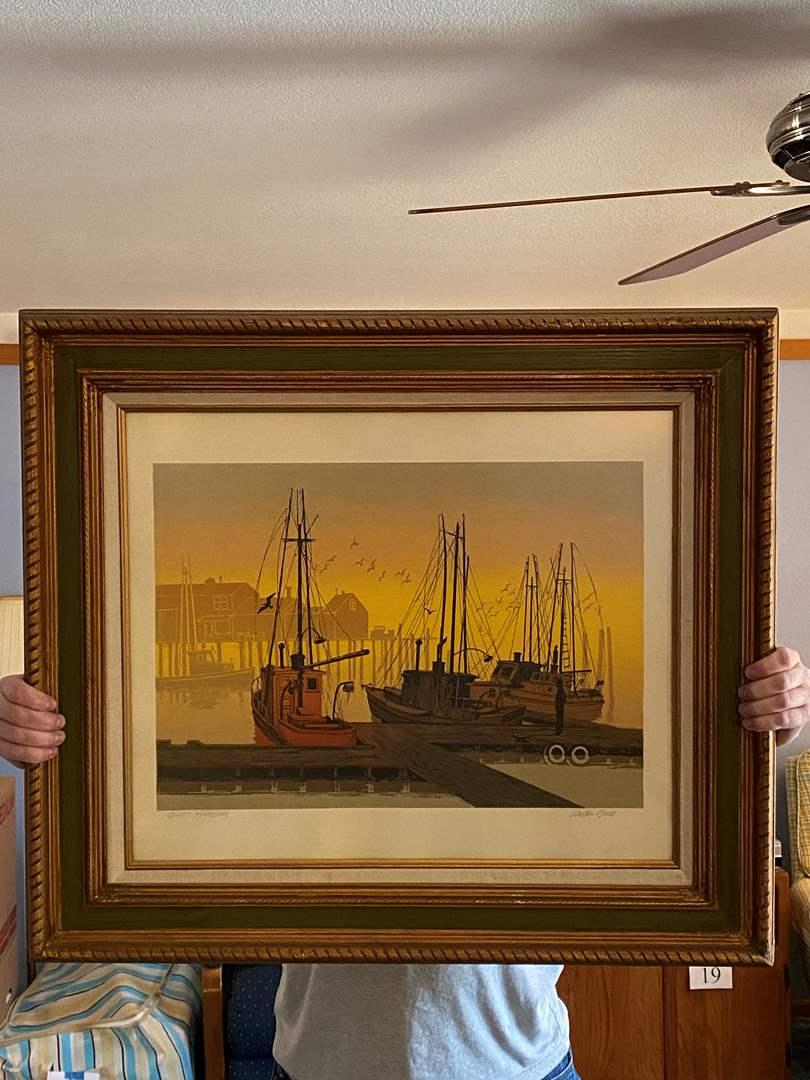 "Lot # 203 - Beautifully Framed Nautical Artwork ""Quiet Harbor"" by Walton Butts (main image)"