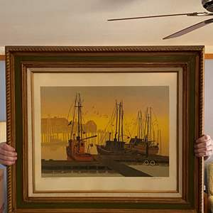 """Lot # 203 - Beautifully Framed Nautical Artwork """"Quiet Harbor"""" by Walton Butts"""