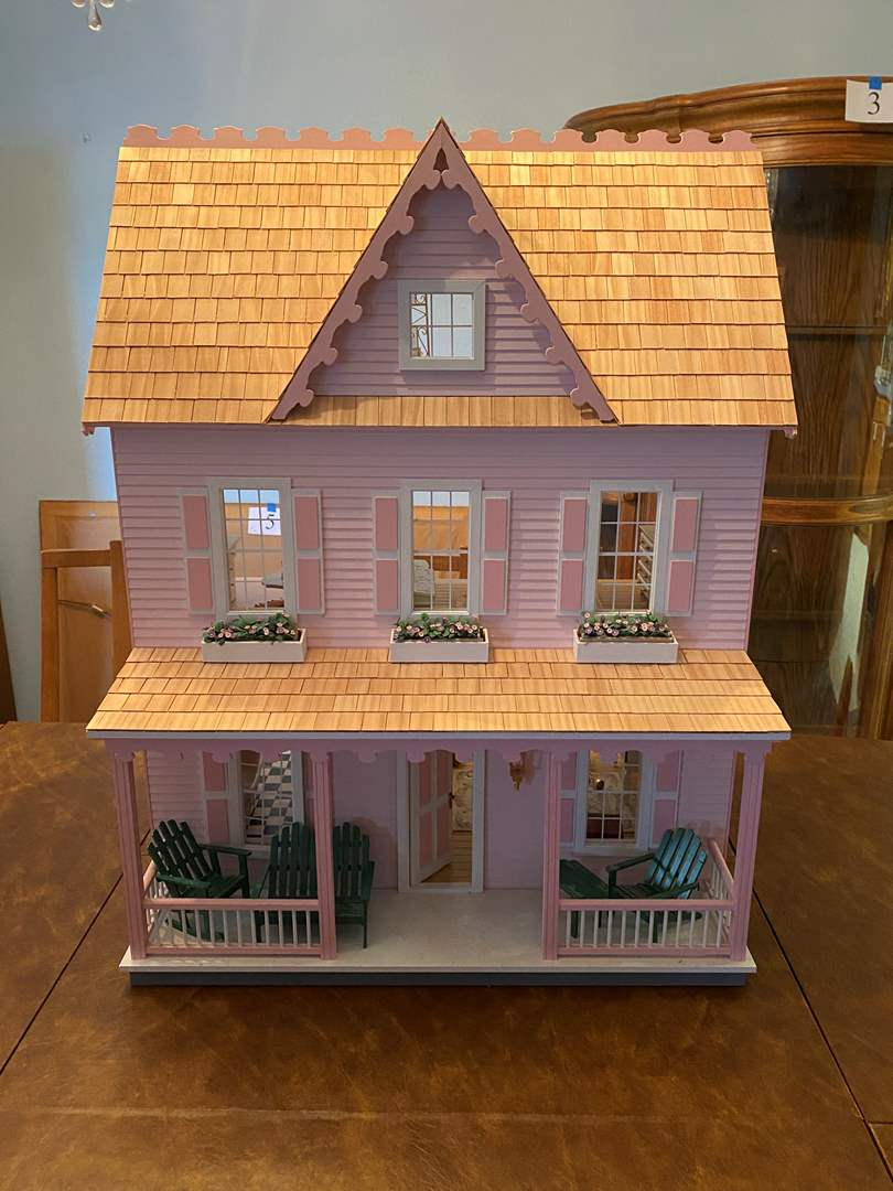 """Lot # 214 - Cute Special Edition """"Vermont Farmhouse Jr."""" Wood Doll House w/ Miniatures & Extra Paint. (main image)"""