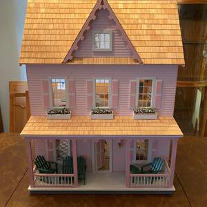 """Lot # 214 - Cute Special Edition """"Vermont Farmhouse Jr."""" Wood Doll House w/ Miniatures & Extra Paint."""