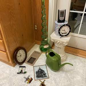 Lot # 223 - Stained Glass Window Hangings, Tall Vintage Glass Decanter, Clocks, Ceramic Stand & More